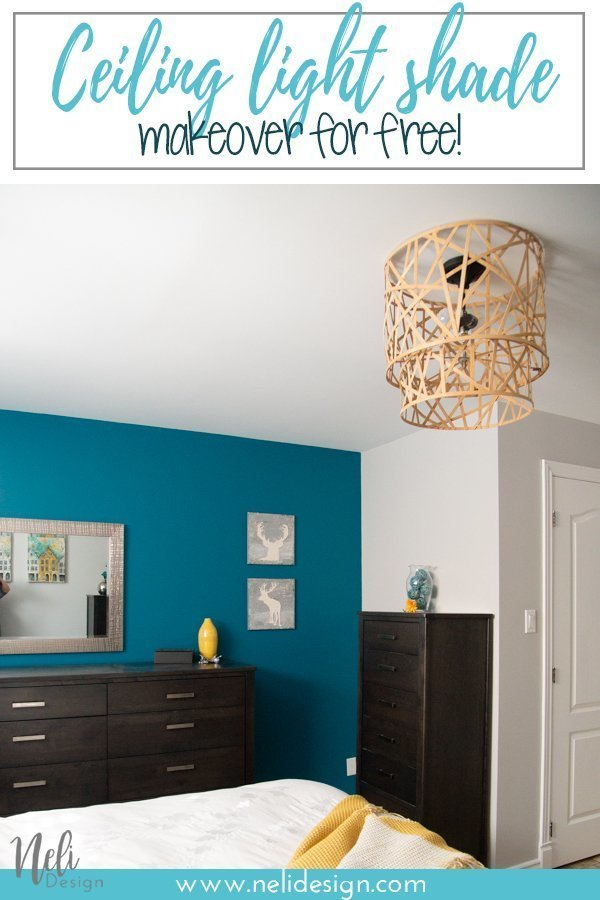 "Pinterest image saying ""Ceiling light shade makeover for free!"""