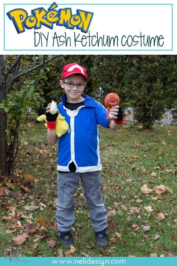 Pinterest image saying Pokemon DIY Ash Ketchum costume