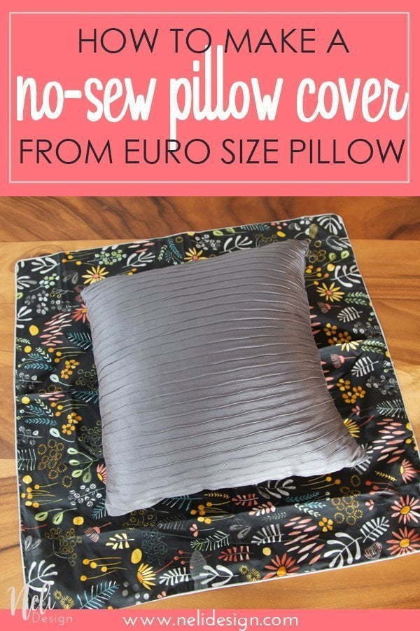 How to make throw pillow covers from euro size pillow case. Here's an easy and simple no sew way to transform the euro pillow covers into a smaller size. #Tutorial #pillowcase #diy #throwpillow #nosew