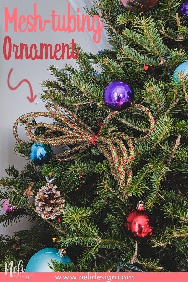 "Pinterest image saying ""Mesh-tubing Ornament"""