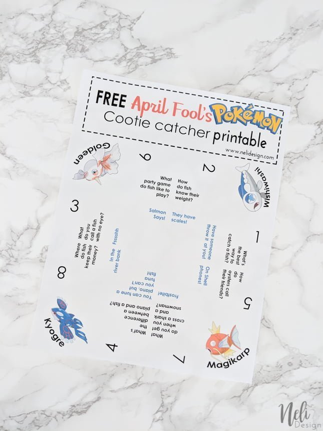 Printable of the April Fool's Pokemon Cootie Catcher