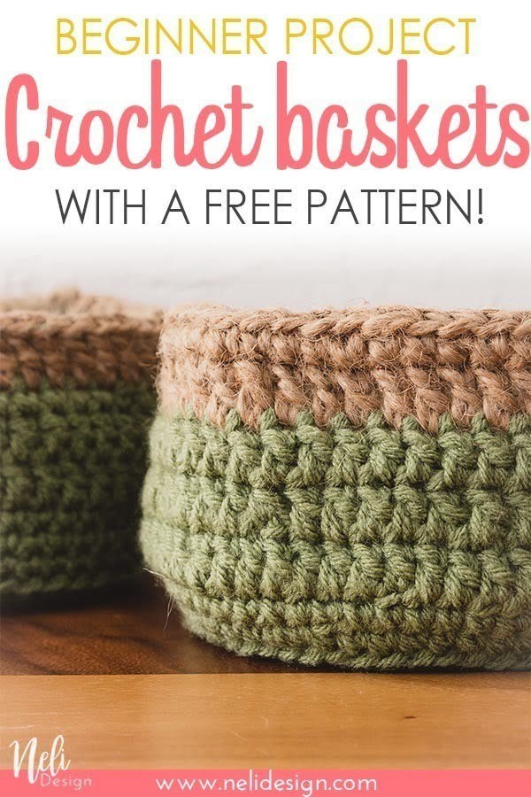Get this free pattern to make these easy round crochet baskets. The pattern is available as a handy free printable that you can follow as you go. It's an ideal beginner project. #crochet #basket #sisal #free #pattern #beginner