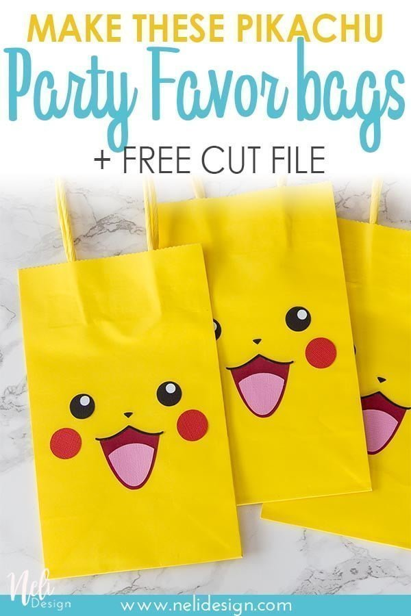 "Pinterest image saying ""Make these pikachu party favor bags + free cut file"""