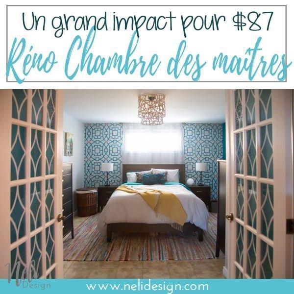 """Image Pinterest où il est inscrit """"un grand impact pour $87 - réno chambre des maîtres"""""""