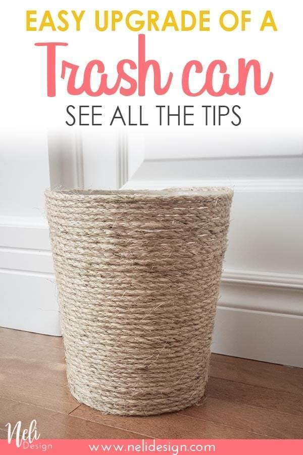 "Pinterest image saying ""Easy upgrade of a Trash can - See all the tips"""