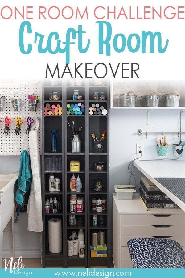 Check out the before and after of my craft room makeover. Full of IKEA hacks and organization tips and tricks. Get a space you love for your DIY #craftroom #organization