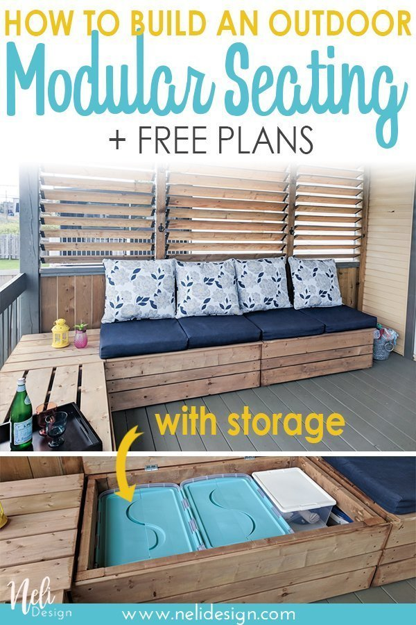 "Pinterest image saying ""How to build an outdoor Modular Seating + free plans"""