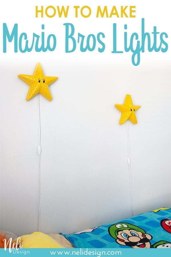 Make these Mario Star lights. They are really easy and fast to do. The Super Mario bros star light can be use as cool night light for your kids #diy #easy #affordable #supermariobros #mariostar