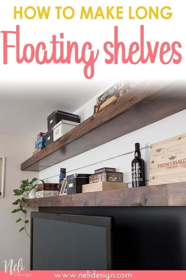 See the step by step tutorial on how to make very long floating shelves. They make a stunning decor above a television. They are simple and easy to make once you have these tips. #floatingshelves #livingroom