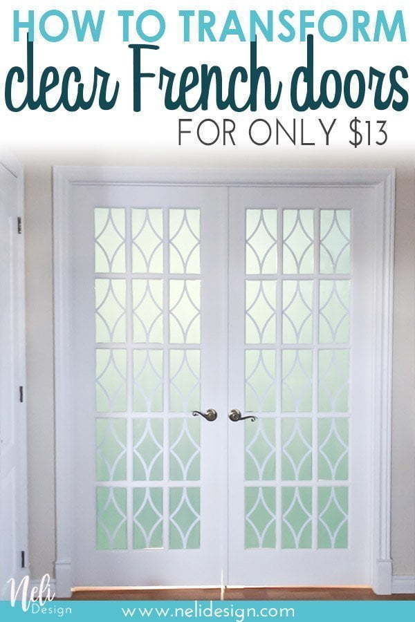 "This is an image to save on Pinterest where it says ""How to transform clear French doors for only $13"""