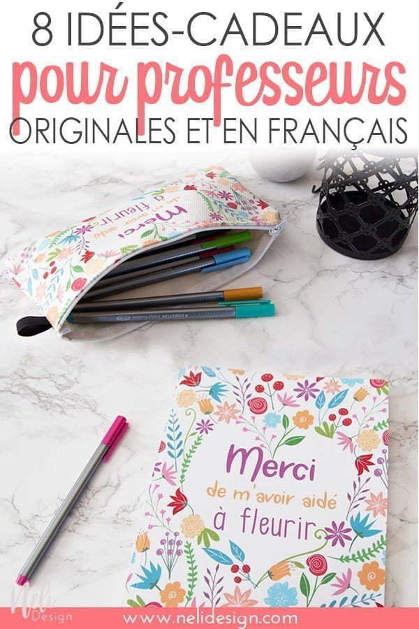 """Image Pinterest où il est écrit """"8 idées-cadeaux pour professeurs originales et en français"""""""