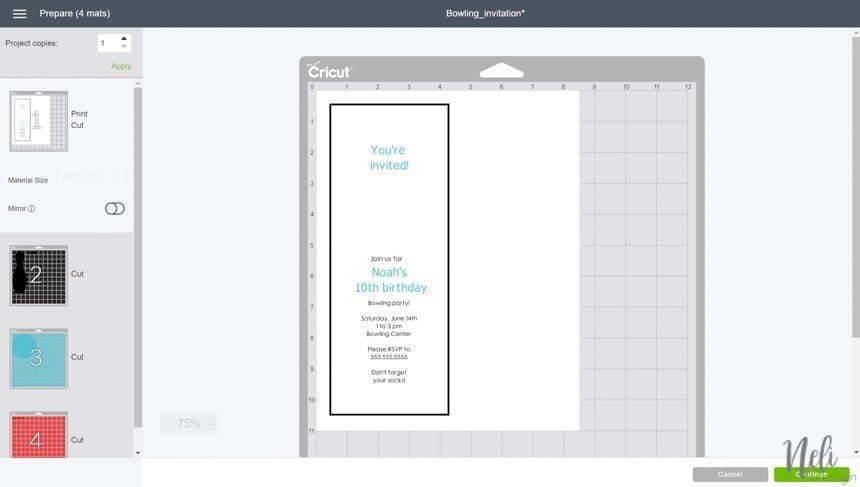 view of the Cricut Design Space when you press Make it to make the free bowling invitation.