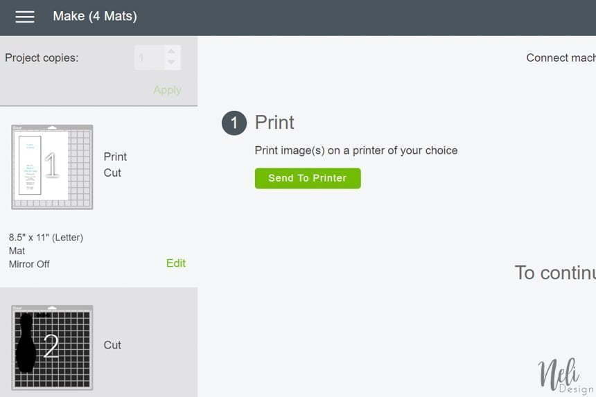 view of the Cricut Design Space. How to send to printer to make the free bowling invitation.