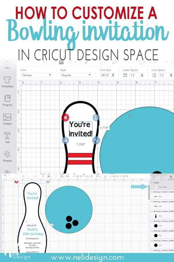 "Pinterest image saying ""How to customize a bowling invitation in Cricut design splace"""