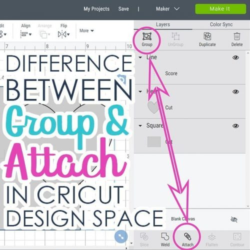 Image of the Cricut Design Space showing group and attach and written Difference between group and attach in Cricut Design Space
