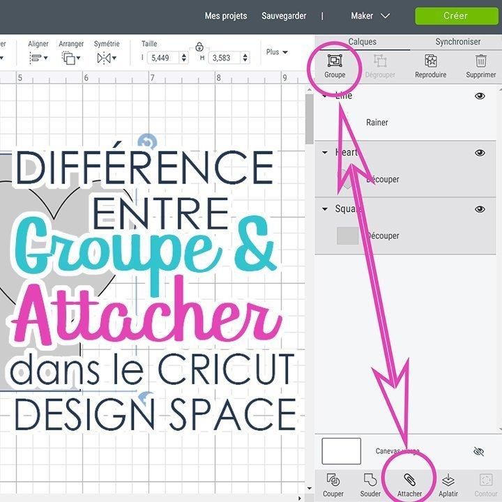 Image du Cricut Design Space montrant groupe et attacher et inscrit Différence entre groupe et attacher dans le Cricut Design Space.