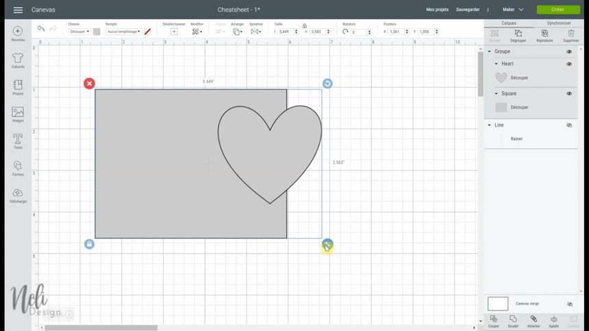 Utiliser l'outil Groupe dans le Cricut Design Space