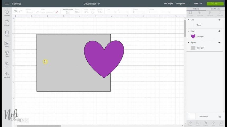 Utiliser attacher avec deux objets de différentes couleurs dans le Cricut Design Space.