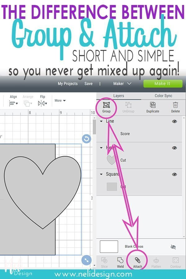"Pinterest image written ""the difference between Group and attach short and simple so you never get mixed up again!"