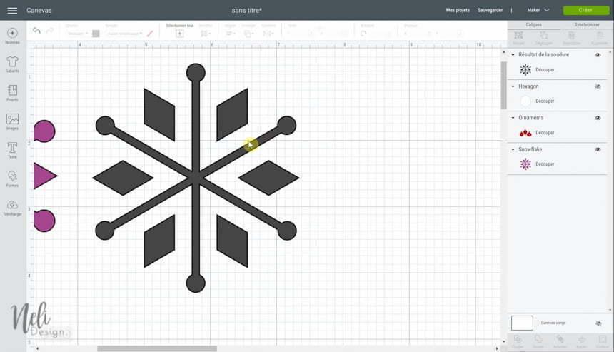 Aperçu du Cricut Design Space en utilisant la fonction souder