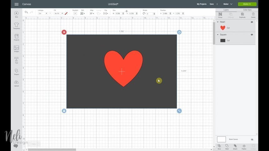 Drawing a heart and placing it on the of the rectangle to use the Cricut slice function: