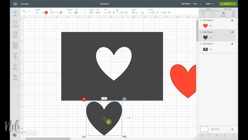 On the canvas, a red heart, a gray heart and a gray rectangle with a heart-shape hole in it.