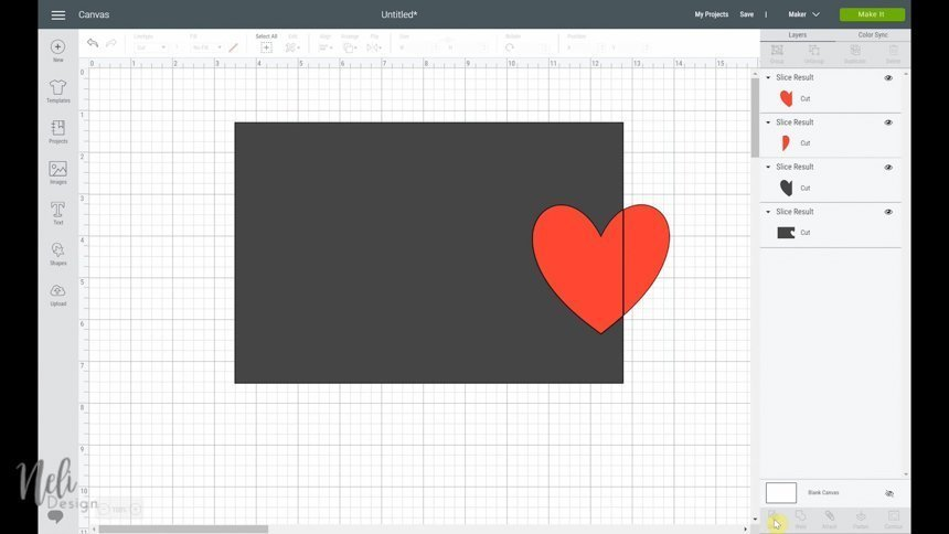 The heart shape is placed on the border of the rectangle to use the slice function in Cricut