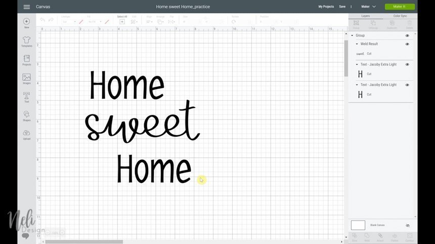 How to slice Home Sweet Home on the Cricut Design space canvas.