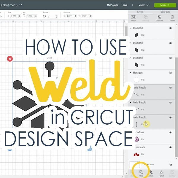 Image of Cricut Design Space written how to use weld in Cricut Design Space.