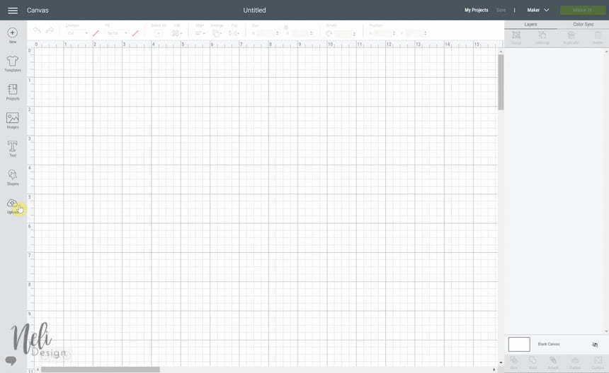 view of Cricut Design Space and how to import an image