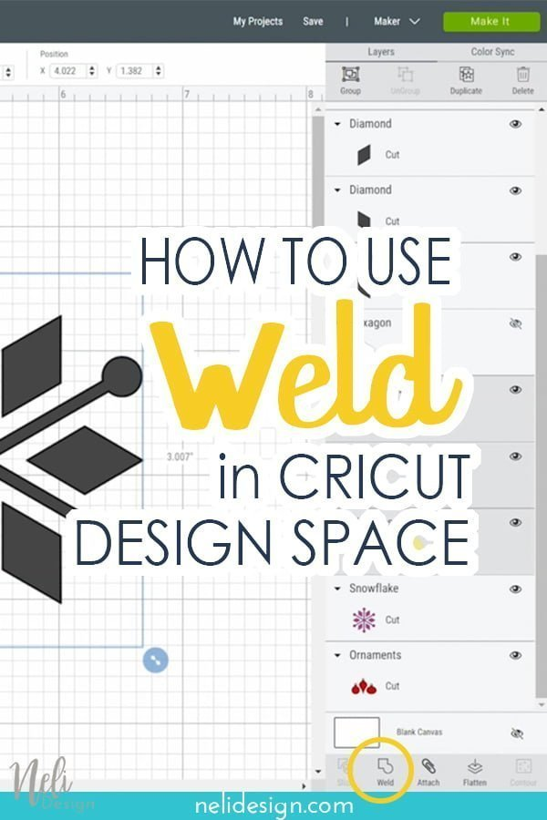 Image Pinterest written how to use weld in Cricut Design Space.