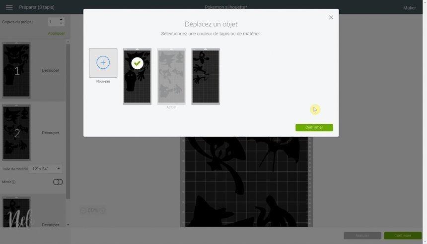 Bouton pour changer une image de tapis dans le Cricut Design Space
