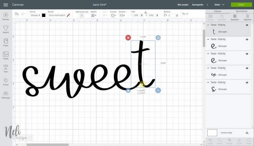Aperçu du Cricut Design Space en utilisant la fonction souder, en replaçant les lettre du mot sweet
