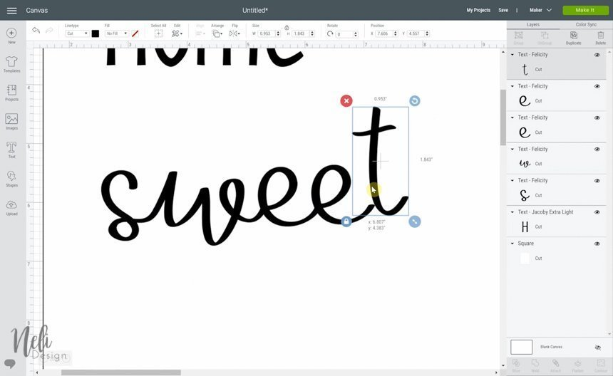 Preview of Cricut Design Space while using the weld function, while replacing the letters of the word sweet