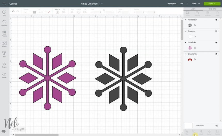 preview of Cricut Design Space while using the Weld function