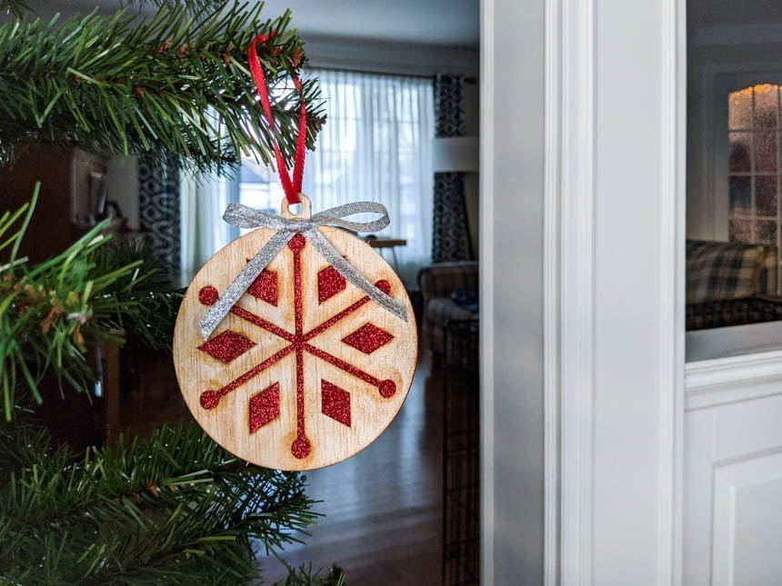 balsa ornament in a Christmas tree