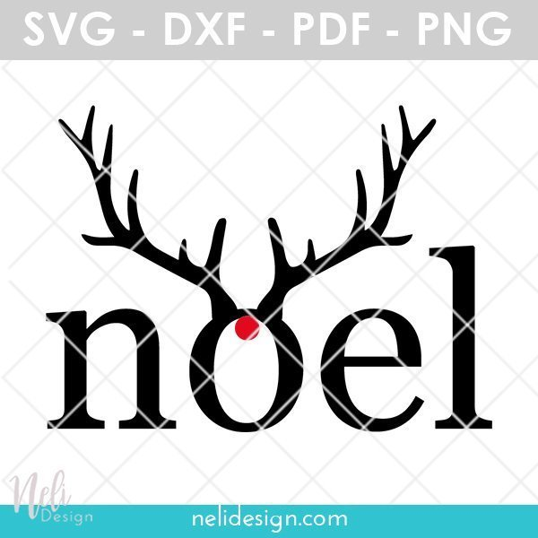 Image of an SVG file written Noel with antlers