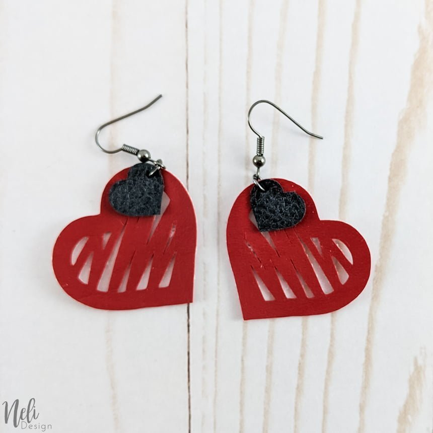 DIY Valentine's Day earrings, red with little black heart.