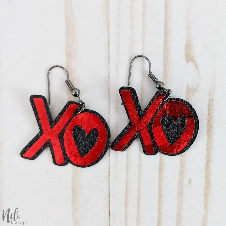 DIY Valentine's Day earrings XO black and red
