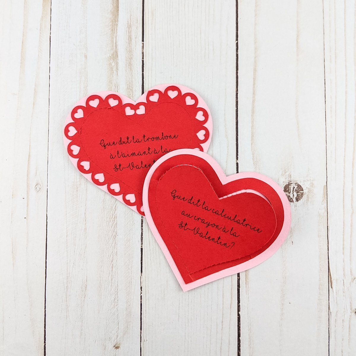 Two love notes for Valentine's day made using Flatten in Cricut Design Space