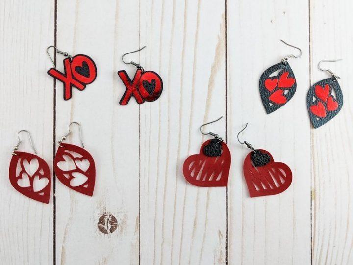 4 pairs of DIY Valentine's Day earrings