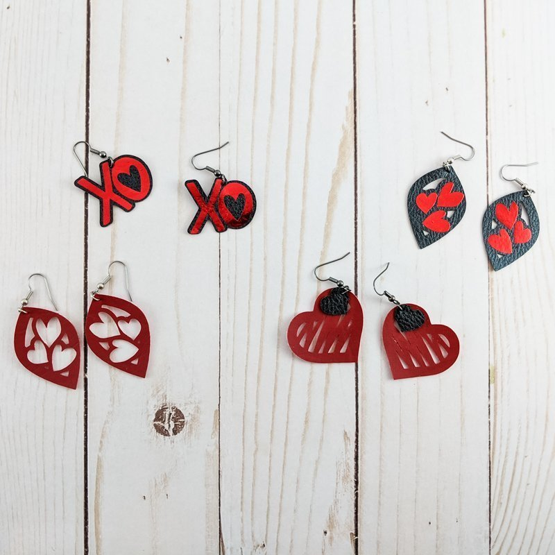 4 pairs of DIY Valentine's Day earrings