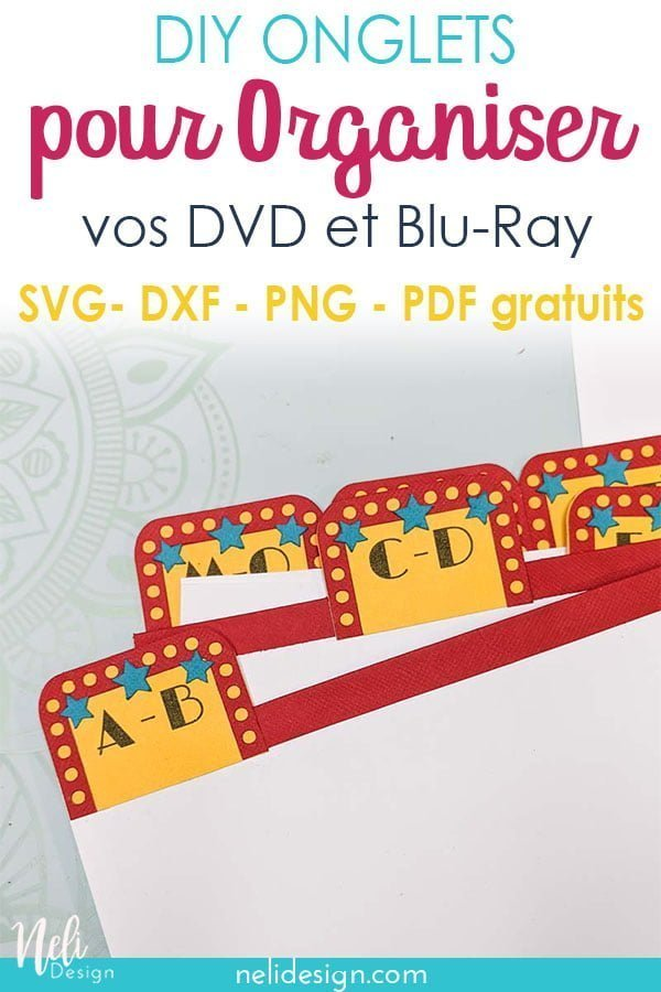 Image Pinterest des onglets indiquant DIY onglets pour organiser vos DVD et Blu-Ray, SVG, DXF, PNG, PDF gratuits