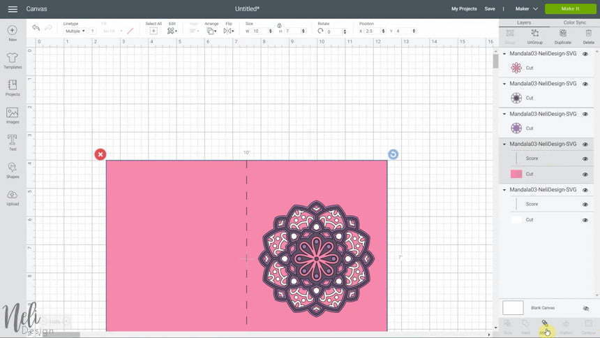 image of Cricut Design Space and Attach group to make the 3D layered mandalas made with the free SVG files