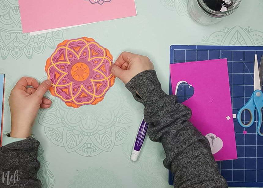 adding the last layer to make the 3D layered mandalas made with the free SVG files