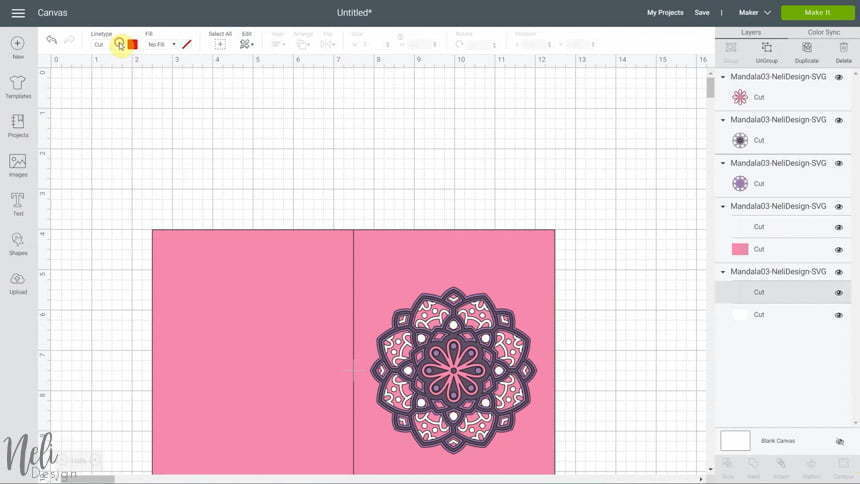 image of Cricut Design Space and changing the linetype to score to make the 3D layered mandalas made with the free SVG files