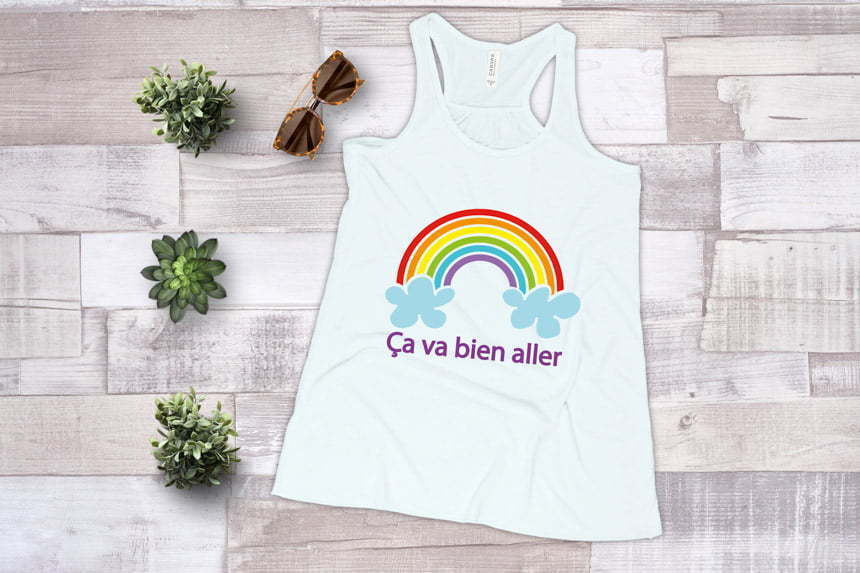 Rainbow on a tank top to show how to layer vinyl with your Cricut