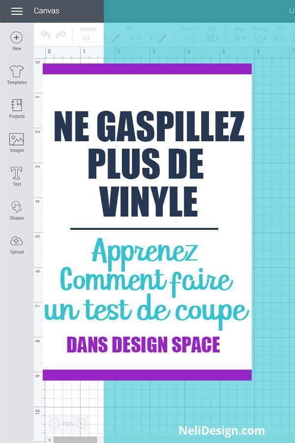 Image Pinterest écrit : Ne gaspillez pas vos matériaux Comment faire un test de coupe dans Design Space