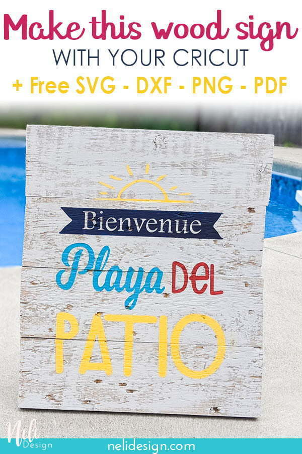 Pinterest image of the painted wood sign made with a Cricut stencil written Make this wood sign with your Cricut + free SVG, DXF, PNG, PDF