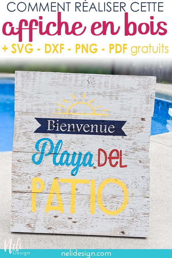 Image Pinterest d'une affiche en bois réalisé à l'aide d'un pochoir Cricut indiquant Comment réaliser cette affiche en bois. SVG, DXF, PNG, PDF gratuits